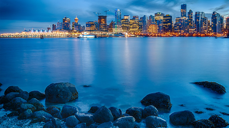 The view of downtown Vancouver from Stanley Park, looking across Coal Harbour.